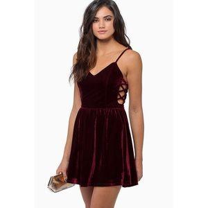 Tobi burgundy velvet dress with caged side